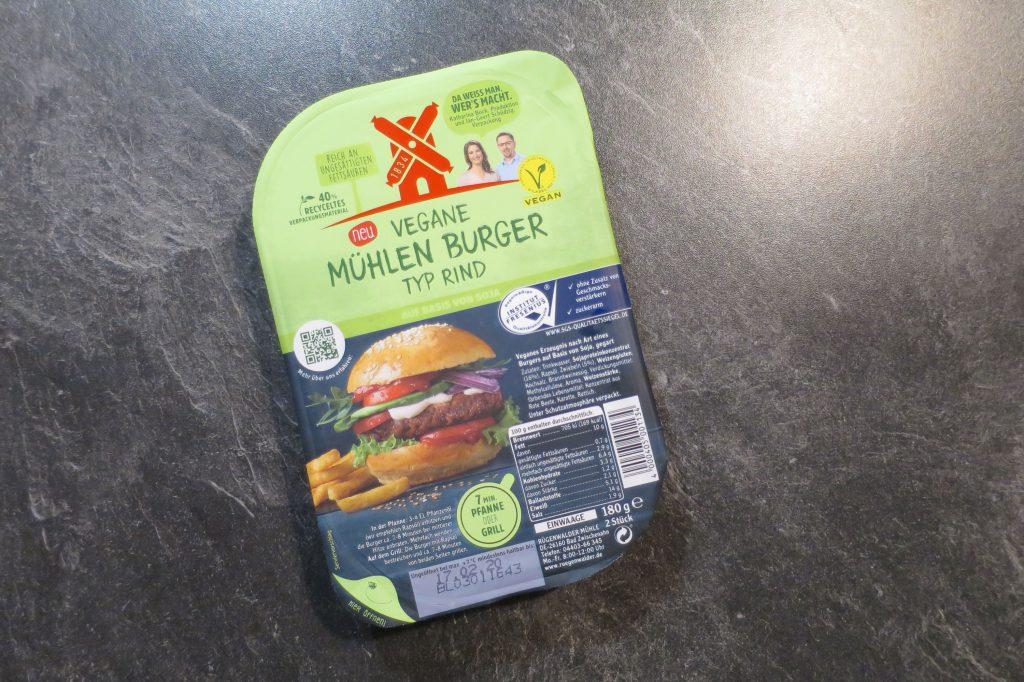 Vegane Mühlen Burger Typ Rind - Die Verpackung des Produkts.
